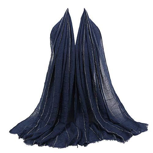 Bolayu Premium Viscose Maxi Crinkle Cloud Hijab Scarf Shawl Soft Islam Muslim (Navy)