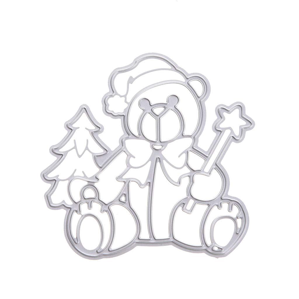 Xurgm Stanzschablonen Bär Stanzschablone Weihnachten Scrapbooking, Embossing Machine Schablonen Schneiden Stanzformen, für Sizzix Big Shot/Cuttlebug / und Andere Stanzmaschine