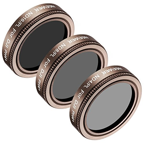 Lens Light Gold Frame (Neewer 3 Pieces Lens Filter Kit for DJI Phantom 4 Pro, Multi-coated, High Definition Glass and Aluminum Alloy Frame Includes: ND4/PL, ND8/PL and ND16/PL (Gold))