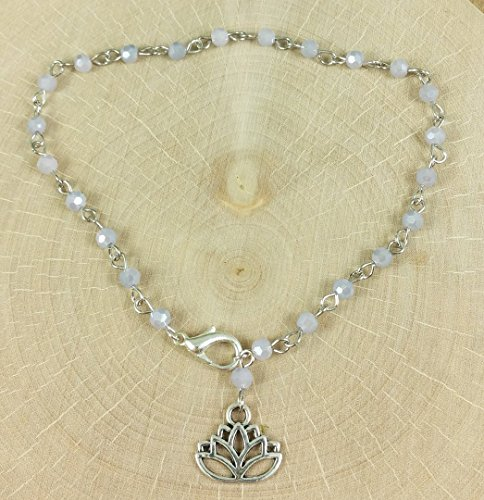 Adjustable Anklet Lavender Purple Crystal Beaded Chain in Sterling Silver with Lotus Blossom Charm Dangle - Blossom Dangle
