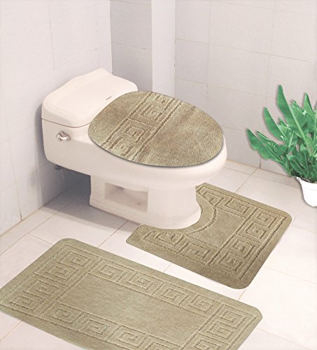 - GorgeousHome (#10) Elegance Greek Key Pattern 3pc Bathroom Bath Rug Contour Set with Toilet Lid Cover Rubber Backing Mats in Solid Colors (Beige Cream)