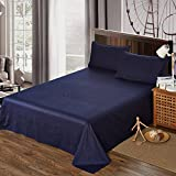 100% Egyptian Cotton 400TC Bed Sheet Set – Deep Pocket 4pc Sheet Set Ultra Soft Wrinkle Free Sheets Set- Queen/ King Size 3 Colors By Sleeping Cloud (Nave Blue, Queen)
