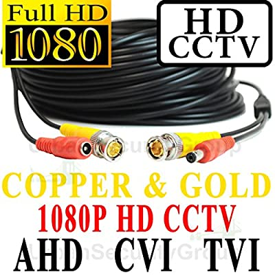 USG 100ft Premium Grade CCTV Cable for 1080P 2MP 3600TVL High Definition Analog, AHD, CVI + TVI Equipment Gold & Copper BNC Connectors Siamese 24AWG Power & 26AWG Video NOT FOR SDI