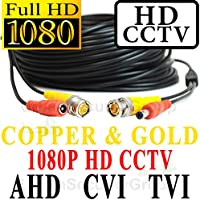 USG 50ft Premium Grade CCTV Cable for 1080P 2MP 3600TVL High Definition Analog, AHD, CVI + TVI Equipment Gold & Copper BNC Connectors Siamese 24AWG Power & 26AWG Video NOT FOR SDI