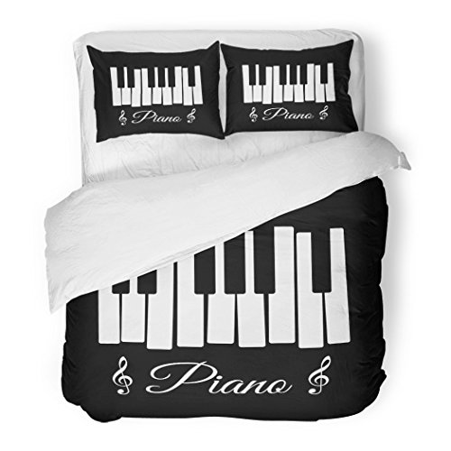 Pop Sets Keyboard - SanChic Duvet Cover Set Key Piano Jazz Notes Keyboard Music Pop Decorative Bedding Set with 2 Pillow Shams Full/Queen Size