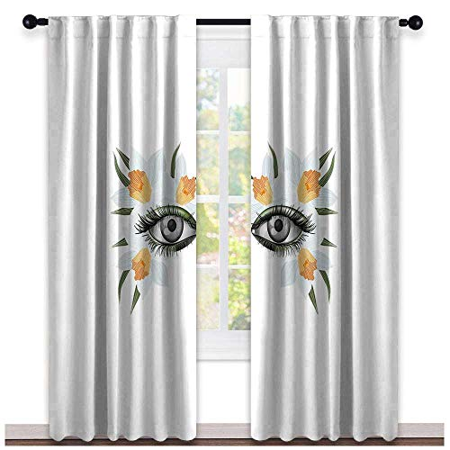 hengshu Eyelash, Curtains Printed, Look of Spring Photorealistic Eye Artistic Makeup with Flowers Narcissus, Curtains Kids, W72 x L96 Inch Apticot Green Black