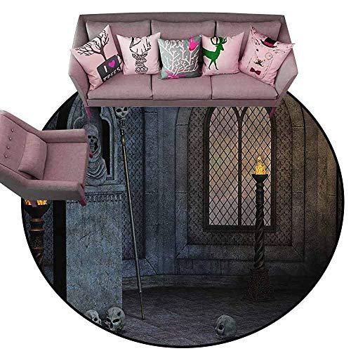 Front Mat Home Decorative Carpet Colorful Gothic,Mystical Spooky Dark Scenery Diameter 66