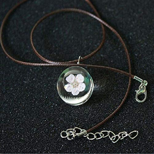 - Crystal Leather Chain Glass Ball Peach Blossom Necklace Dried Flower Pendant