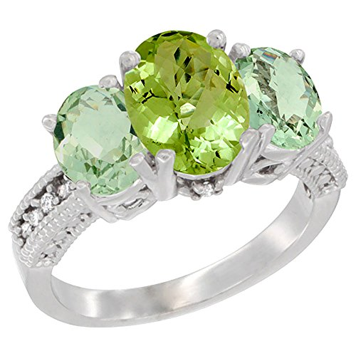 10K White Gold Diamond Natural Peridot Ring 3-Stone Oval 8x6mm with Green Amethyst, size 9 by Silver City Jewelry