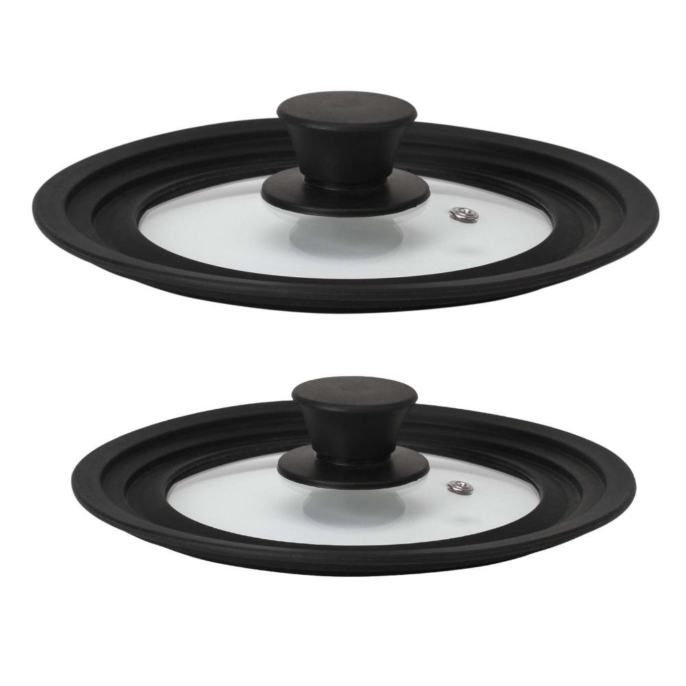 Set of 2Culinario Universal Lids Glass with Outlet Valve and Silicone Edge Diameter 16/18/20cm and 24/26/28cm, Splash Guard Steuber GmbH