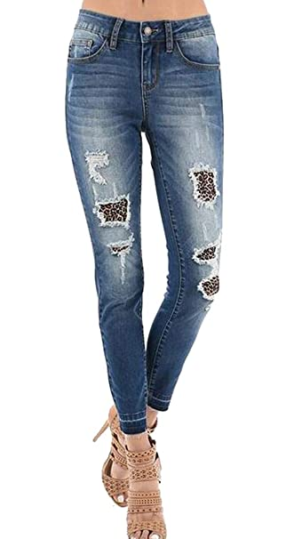4947c078ae BYWX Women Leopard Print Ripped Distressed Patchwork Jeans Denim Pencil  Pants at Amazon Women s Jeans store