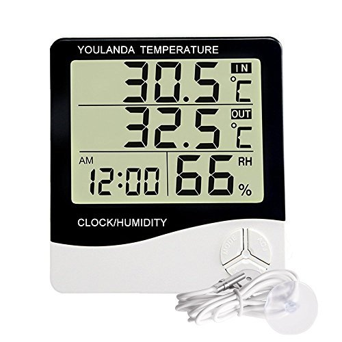 - Large Display Digital Thermometer Humidity Temperature Monitor Indoor Outdoor with Alarm Clock