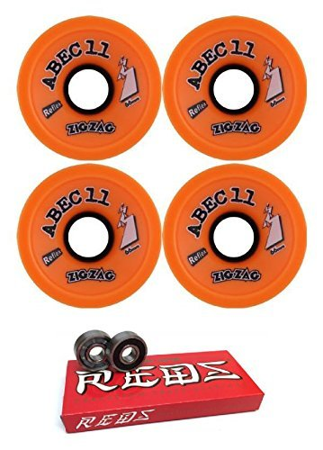66 mm Abec 11 Zigzags Longboard Skateboard Wheels with Bones Bearings – 8 mmスケートボードベアリングBones Super Redsスケート定格 – 2アイテムのバンドル   B06X3WGMJ3