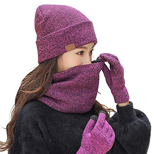 (Winter Beanie Hat Scarf Gloves Knit Skull Cap Infinity Scarves Touch Screen Mittens for Men Women 3 PCS Knitted Set (Rosy))