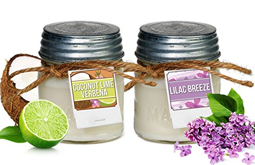 Aira Soy Candles   Organic  Kosher  Vegan In Mason Jar W  Therapeutic Grade Essential Oils   Hand Poured 100  Soy Candle Wax   Paraffin Free   Gift Set   Lilac Breeze   Coconut Lime   8 Ounce X 2