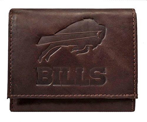 Rico Buffalo Bills NFL Embossed Logo Dark Brown Leather Trifold Wallet Bills Rico Tri Fold Wallet