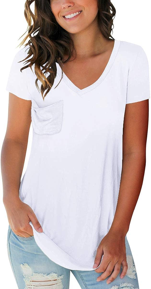 Glanzition Womens V Neck Shirts Short Sleeve Casual Tunic Summer Tops