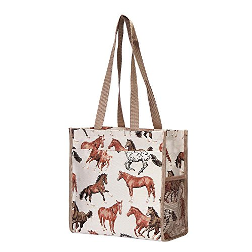 Women Bag RHOR Horses Signare Running Shoulder SHOP with White Tote Horse Shopping Tapestry w5FAFqX