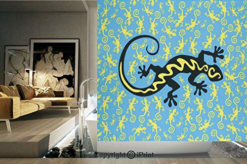Decorative Privacy Window Film/Hawaiian Exotic Lizard Dancing with Many Mascots on the Ground Fun Illustration/No-Glue Self Static Cling for Home Bedroom Bathroom Kitchen Office Decor Black Blue -