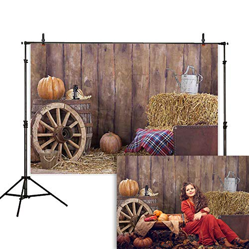 Allenjoy 7x5ft Autumn Old Barn Backdrop Fall Pumpkin Wheel Hay Vintage Suitcase Wooden Board Wall Background Thanksgiving Harvest Decoration Supplies Cake Table Banner Photo Studio Booth Props