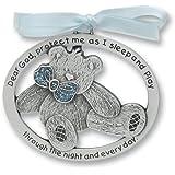 "Sweet Teddy Bear Crib Medal for Baby Boy Crib Medal with Verse 2-1/2"" Pewter Finish - Christening/Shower Gift/Baptism Keepsake/with Blue Ribbon- Infant - Newborn"