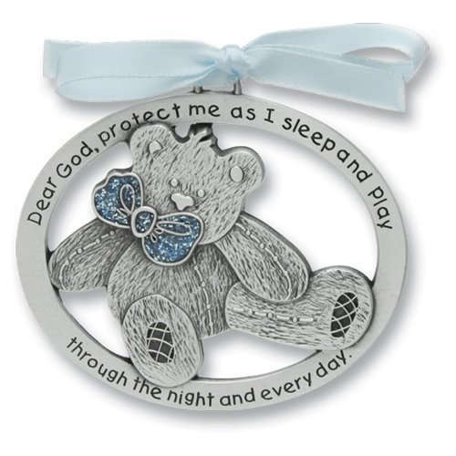 SWEET TEDDY BEAR Crib Medal for Baby BOY Crib Medal with Verse 4 PEWTER Finish - CHRISTENING/SHOWER GIFT/Baptism KEEPSAKE/with BLUE RIBBON - INFANT - Newborn CA