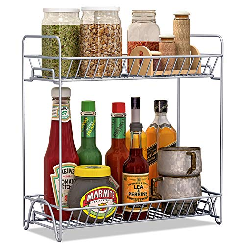Garwarm Kitchen Spice Rack Organizer/2-Tier Standing Rack/Kitchen Bathroom Bedroom Countertop Storage Organizer Spice Jars Bottle Shelf Holder Rack (Best Oil For Wooden Kitchen Worktops)