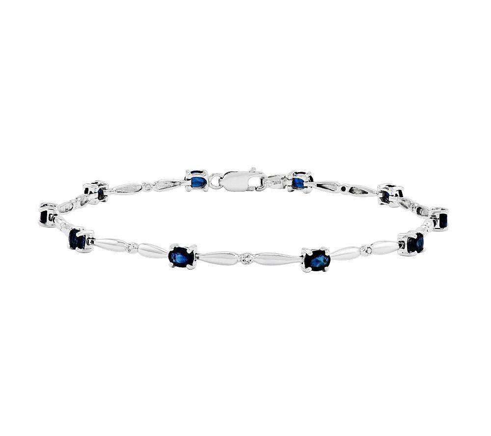 Silvostyles 2.20 Ct Oval Sapphire w/ CZ Diamond Accent Tennis Bracelet, 14K White Gold Plated