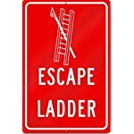 "Yetta Quiller Escape Ladder Evacuation Sign 12"" wide x 18"" tall Heavy Metal Tin Sign Aluminum"