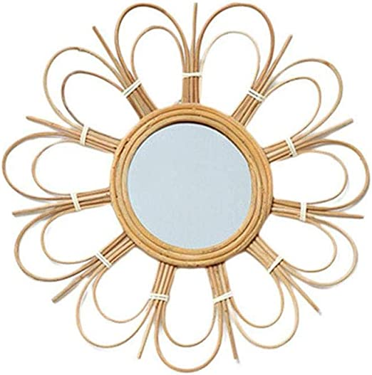 Amazon Com Ttbdy Wall Mirrors Rattan Mirror Dressing Mirror Vintage Hanging Mirror Creative Wall Art Decor For Bedroom Living Room Bathroom Home Kitchen