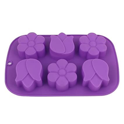 Silicona 6 Cavidad flores en forma de bricolaje molde de pastel panificadora púrpura