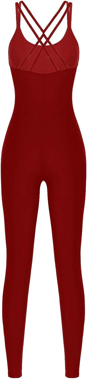 Agoky Women Strappy Sleeveless Workout Bodysuit Gym Unitard Backless Romper Jumpsuit Fitness