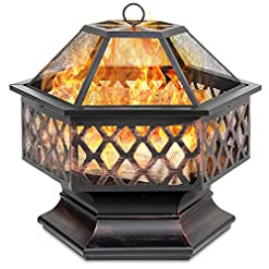 Firepits Best Choice Products Hex-Shaped 24in Steel Fire Pit for Garden, Backyard, Poolside w/Flame-Retardant Mesh Lid firepits