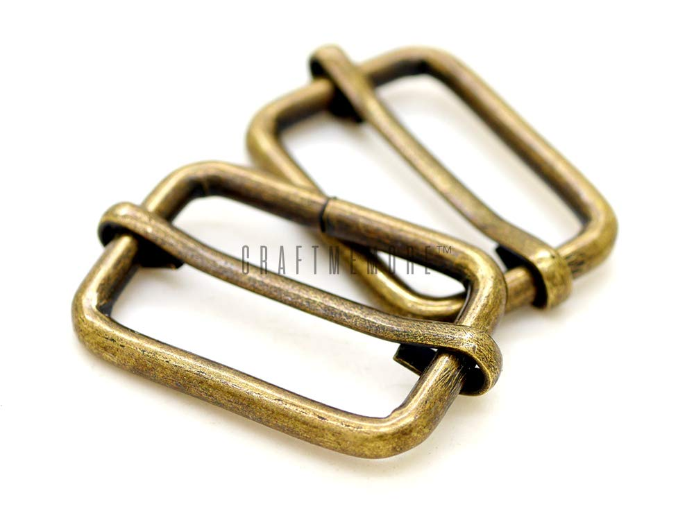 CRAFTMEmore Movable Bar Slide Strap Adjuster Rectangle Strap Keeper Triglide Belt Keeper Purse Making 5/8'' 3/4'' 1'' (3/4'' x 100 Pack, Antique Brass)