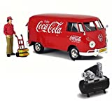 Diecast Car & Air Compressor Package - 1963 Volkswagen T1 Coca Cola Cargo Van with Delivery Driver, Red - Motorcity Classics 424062 - 1/24 Scale Diecast Model Toy Car w/Air Compressor