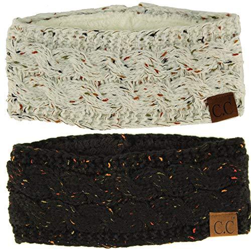 (Winter CC Warm Fuzzy Fleece Lined Thick Knit Headband Headwrap Hat Cap Black/Ivory 2 Pack)