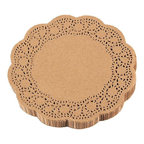 Paper Doilies - 250-Pack Round Lace Placemats for Cakes, Desserts, Baked Treat Display, Ideal for Weddings, Formal Event Decoration, Tableware Decor, Brown - 10 Inches in Diameter ()