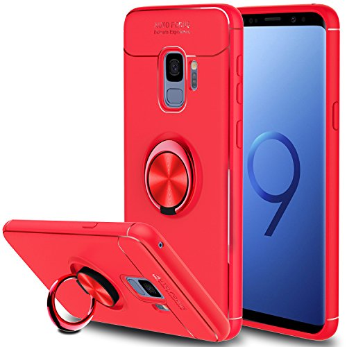 Galaxy S9 Case, Elegant Choise Hybrid Slim Durable Soft 360 Degree Rotating Ring Kickstand Protective Case with Magnetic Case Cover for Samsung Galaxy S9 (Red)