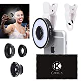Camera Lens Kit with LED Ring Light for Phone/Tablet - Universal - Fisheye, Wide Angle and Macro Lens - Amazing Upgrade for Apple iPhone 8/7/SE/6/6S, iPad, Samsung Galaxy S9/S9+, S8/S8+, S7/S7 Edge