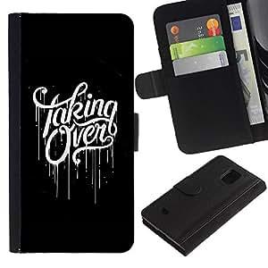 Paccase / Billetera de Cuero Caso del tirón Titular de la tarjeta Carcasa Funda para - Taking Over Black Scary Paint Dripping - Samsung Galaxy S5 Mini, SM-G800, NOT S5 REGULAR!