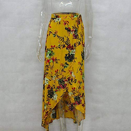 Fendue Haute Asymtrique Casual Plage Taille Imprim Jaune Fleurs YiyiLai Femme Cordon Jupe avec nBqnxfa