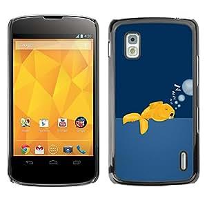 QCASE / LG Google Nexus 4 E960 / peces de oro salvaje de natación océano libre de burbujas de arte / Delgado Negro Plástico caso cubierta Shell Armor Funda Case Cover