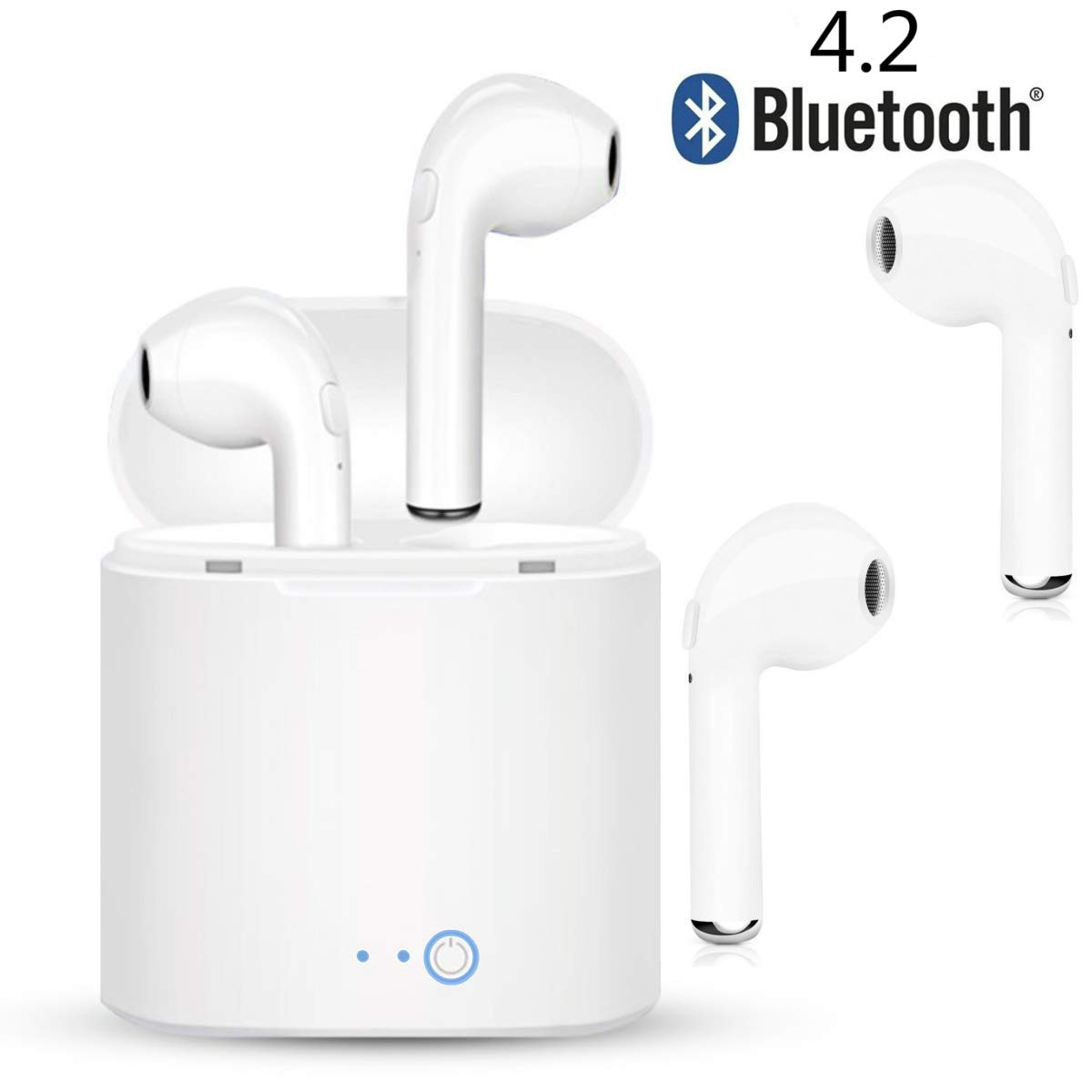Bluetooth Headset, Wireless Earbuds, Stereo Noise Reduction Sweatproof mic Mini Sports Headphones with Charging Case. Compatible with iPhone Samsung Galaxy and Other Android Smartphones (White)
