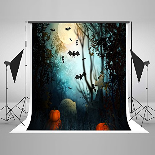 5x7ft Microfiber Halloween Moon Bats Pumpkins Gravestone Party Decorations Photo Backdrop Seamless Folding Washable No Creases Photography Booth Background