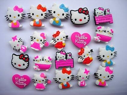 reputable site 365f0 a2d69 Amazon.com: 20 Hello Kitty Shoe Charm Fits Jibbitz Croc ...