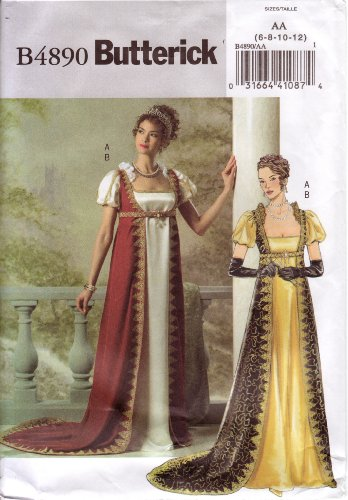 Elizabethan Era Costume (Butterick Sewing Pattern B4890 Misses Historical Costume / Medieval Dress, Sizes 6-12, or 14-20)