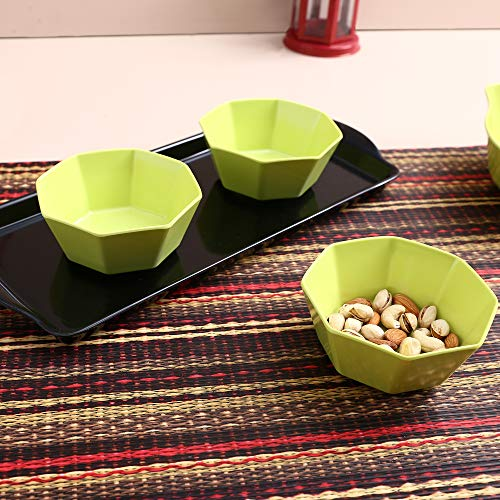 Iveo Melamine Tray and Bowl Set, 4 Pieces, Black/Green