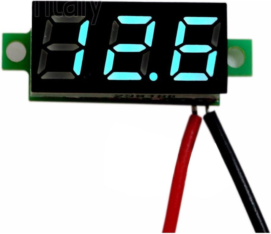 SNOWINSPRING 5PCS Blue DC 0-30V LED Panel Voltmeter 3-Digital Display Voltage Meter