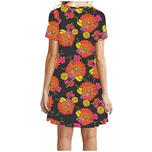 Women Dresses, The Latest Fashion Multi-Color Printing Loose Short Round Neck Short Sleeve Dress (Red_20,S)