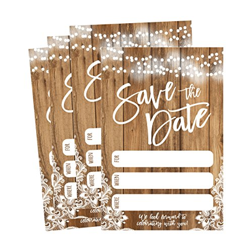 (50 Rustic Save The Date Cards For Wedding, Engagement, Anniversary, Baby Shower, Birthday Party, Etc Save The Dates Postcard Invitations, Simple Blank Event Announcements)